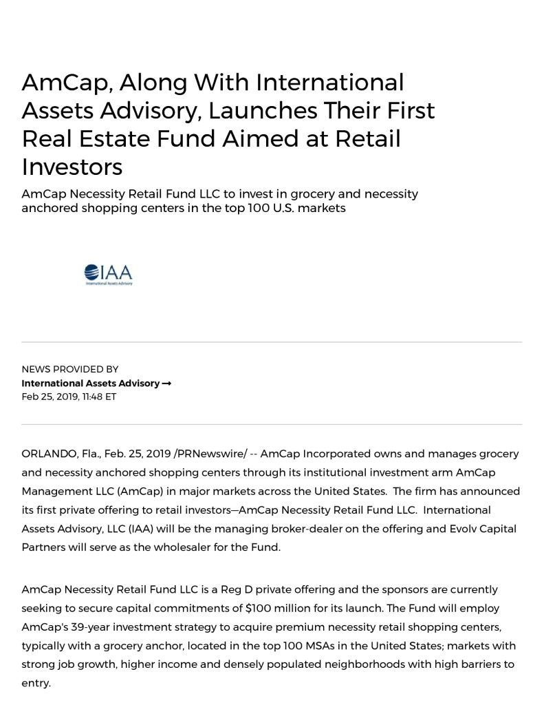 AmCap Necessity Retail Fund LLC Investing in Grocery and